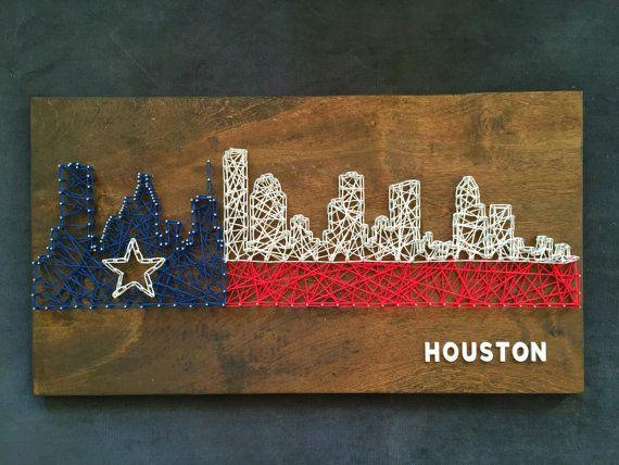 Custom Houston Skyline String Art Texas by CactusCustomDesigns