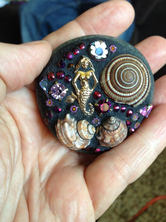 Mosaic rock - finally, a use for shells collected over the years and broken/favorite costume jewelry.