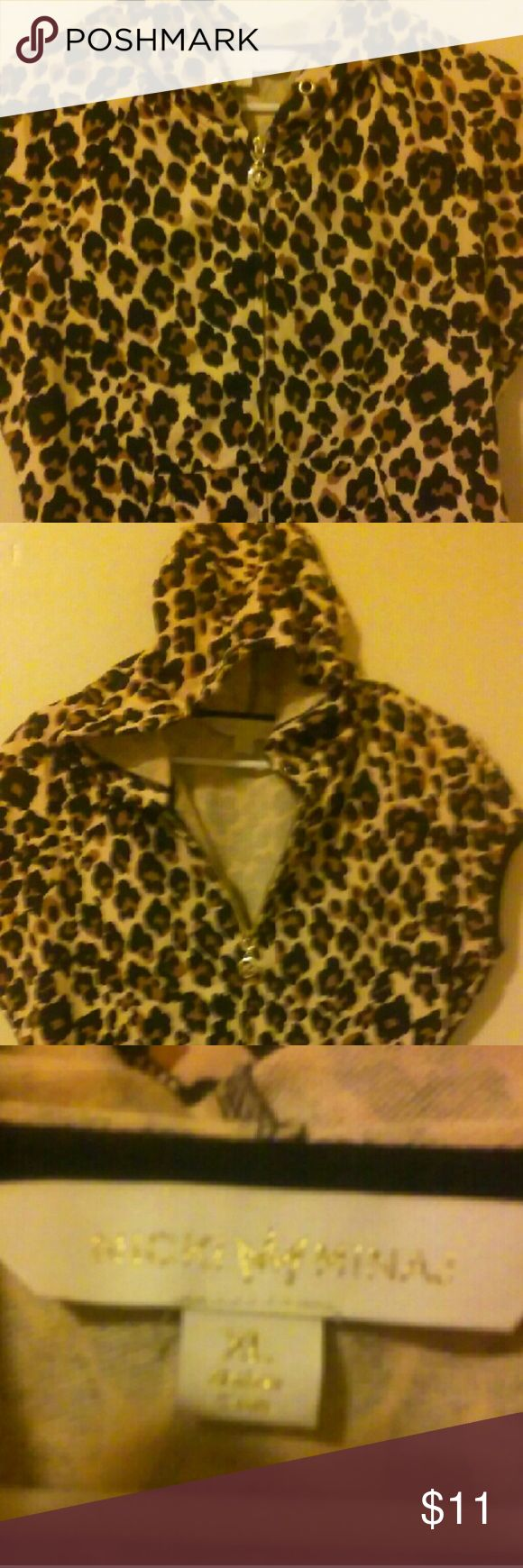 Leopard shirt Leopard zip up short sleeve shirt/jacket, with hood. New, never worn. Ripped tags off to wear but does not fit. Nicky minage Tops Sweatshirts & Hoodies