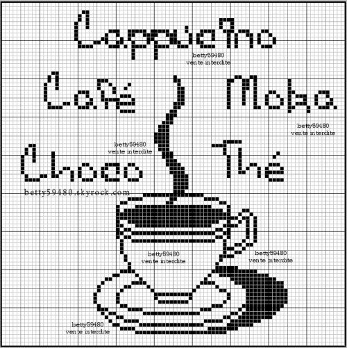 cuisine - kitchen - tasse - point de croix-cross stitch - broderie-embroidery- Blog : http://broderiemimie44.canalblog.com/