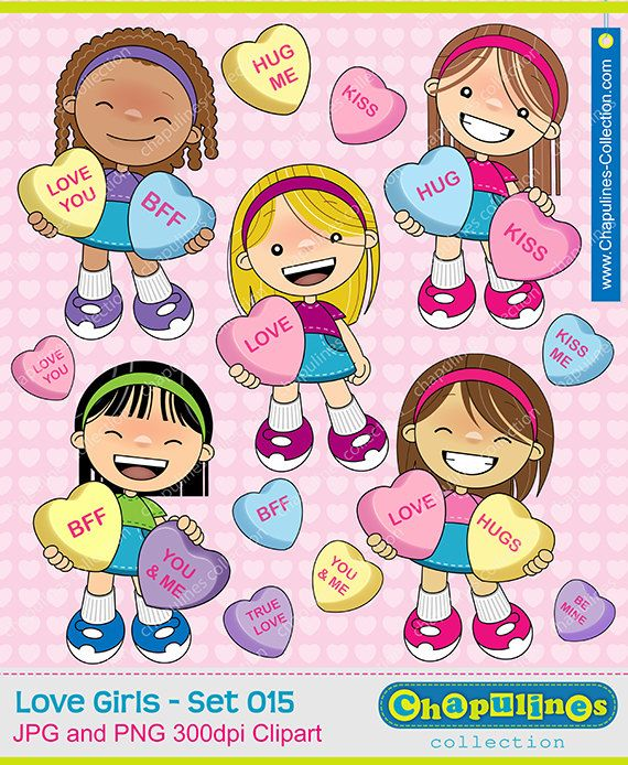 Candy Hearts Girls Clipart Candy Hearts by ChapulinesCollection