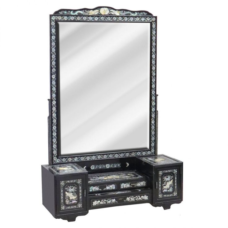 6 Foot Tall Chinese Black Abalone Inlaid Dressing Vanity