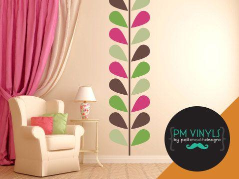 Retro Modern Geometric Leaf Vinyl Wall Decal - TRE005