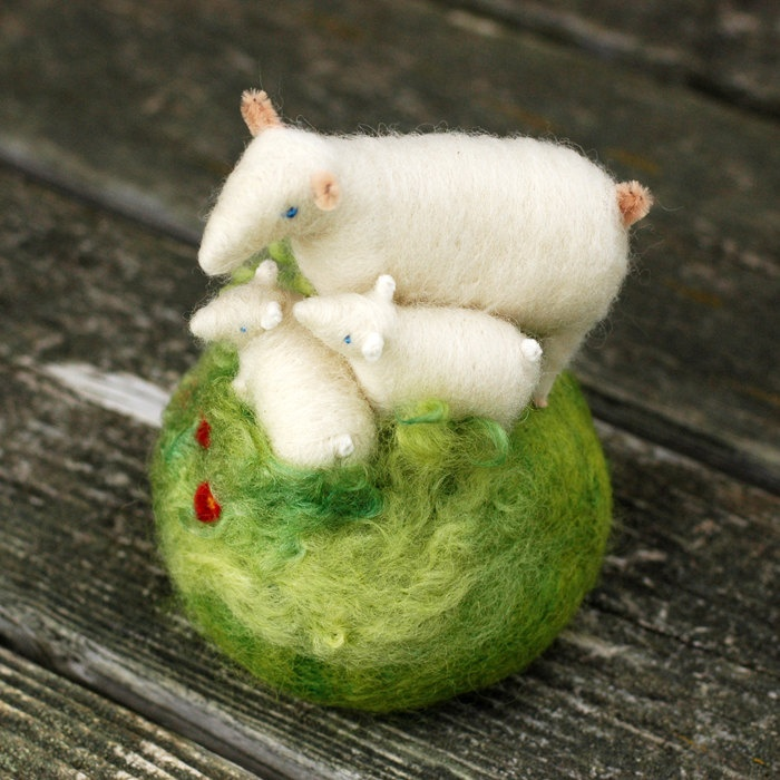~ Lovely little family ~ Mama Sheep and her Two Lambs in a Meadow - Needle Felted Pincushion by  BossysFeltworks