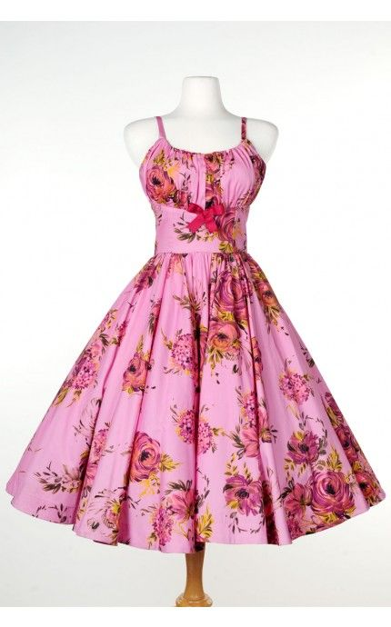 Pinup Couture - Ella Dress in Pink and Baton Rouge Rose Floral Print | Pinup Girl Clothing