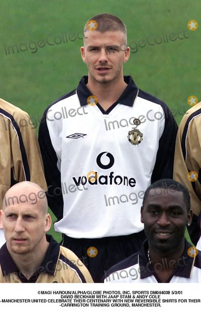 Andy Cole Picture - Magi HarounalphaGlobe Photos Inc Sports Dm044038 5301 David Beckham with Jaap Stam Andy Cole -Manchester United Celebrate Their Centenary with New Reversible Shirts For Their Away Kit -Carrington Training Ground Manchester