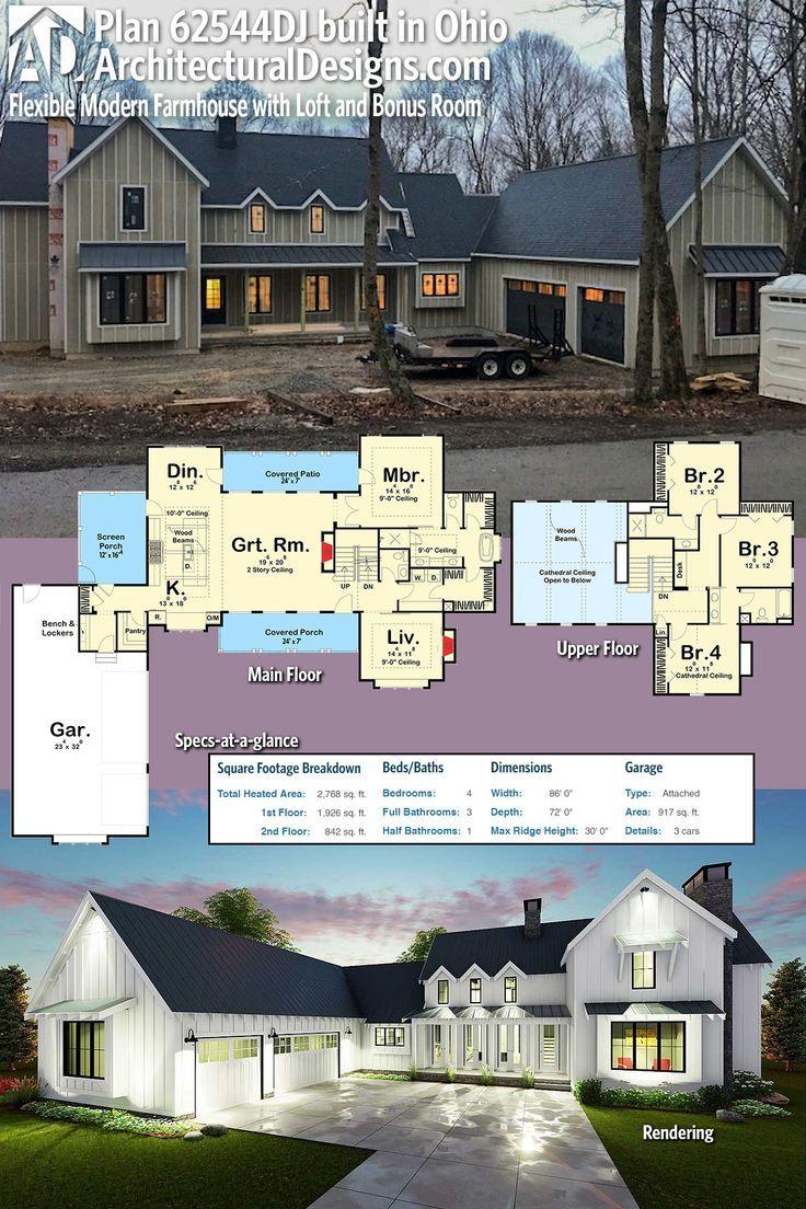 Plan 62544dj Modern 4 Bedroom Farmhouse Plan Farmhouse Plans Modern Farmhouse Plans How To Plan