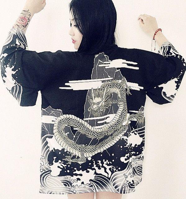Vintage Dragon Print Kimono Cardigan Beach Cover Up - Boho Chic - Bohemian Top