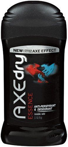 AXE DRY Anti-Perspirant, Invisible Solid, Essence - 2.7oz. Size: 2.7 oz. Stay dry all day-or all night. Smell great. Anti-perspirant and deodorant provides effective wetnessand odor protection. Axe Dry anti-perspirant & deodorant provides effective wetness and odor protection. Please read all label information on delivery. All day or all night. Dimensions: width: 260, height: 110. Stay dry. Invisible Solid: Goes on clear. Goes on clear. Release Date: 2012-03-16.