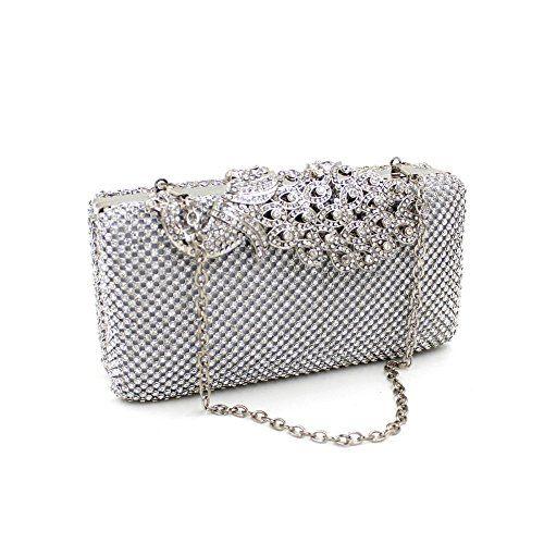 Women Crystal Rhinestone Evening Clutches Bags Wedding Purse Handbags Silver