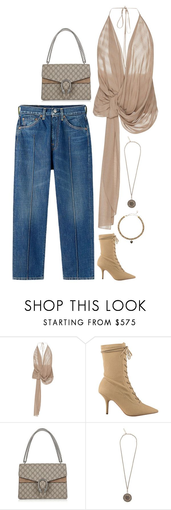 """""""Jacquemus top and yeezy shoes with blue jeans"""" by hugovrcl ❤ liked on Polyvore featuring Jacquemus, Yeezy by Kanye West, Gucci and Givenchy"""