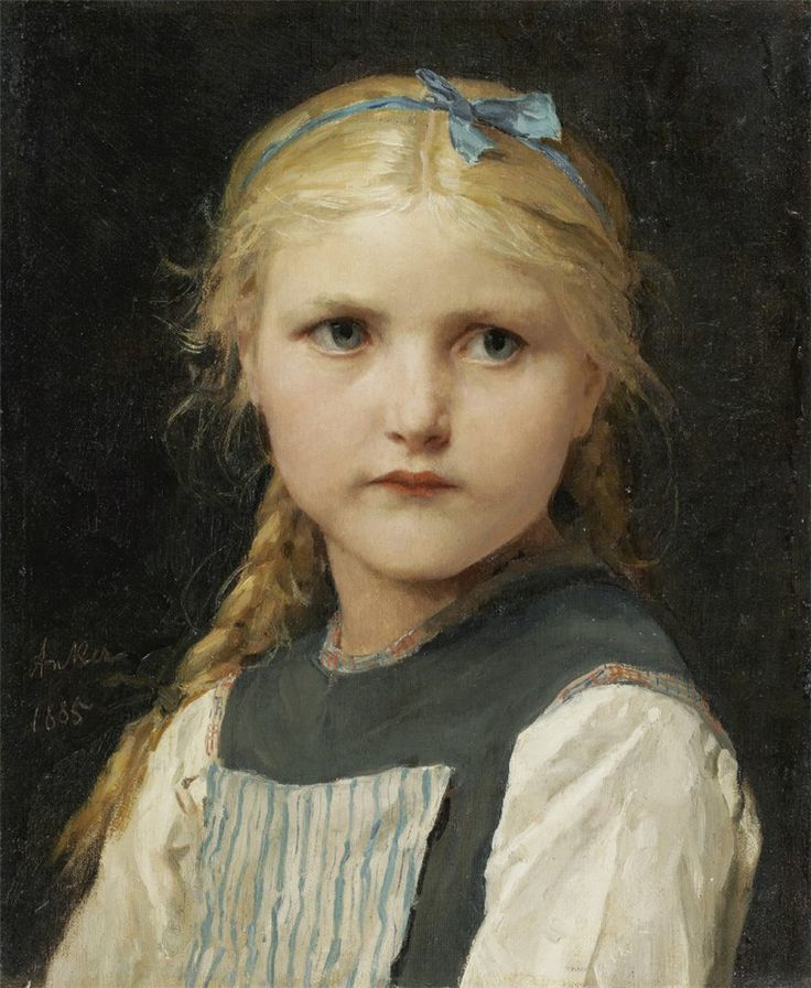 Portrait of a girl by Albert Anker (swiss, 1831-1910)