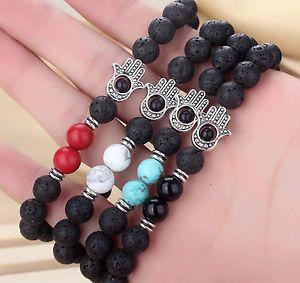 Four Onyx Howlite Unisex Lava Stone Beaded Bracelet with Hamsa Meditation Mala | eBay