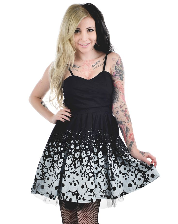 Check dress black and white with skulls