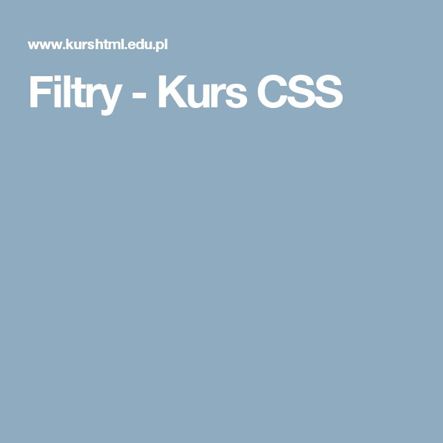 Filtry - Kurs CSS