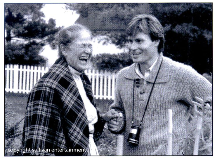 Colleen Dewhurst and Kevin Sullivan share a laugh on the set of #anneofgreengables. #TBT