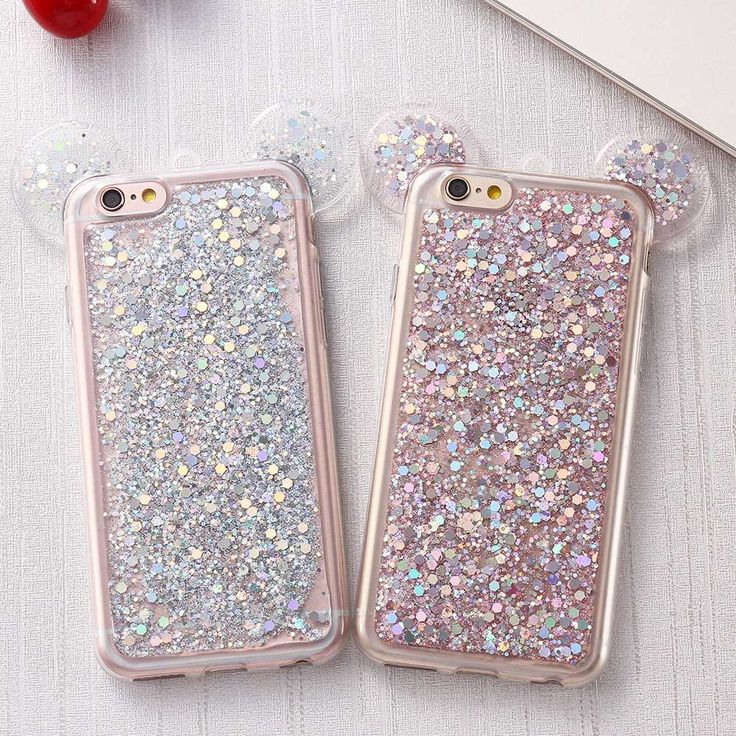 3D Mickey Mouse Ears Phone Case For iPhone 6 6S For iPhone 6 Plus 6S Plus Cute Candy Glitter Paillettes Back Cover Cartoon Case