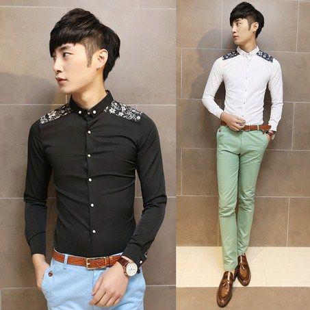 2014 Korean Fashion Design Floral Splicing Man Shirts Slim Long Sleeve Shirt All Season All Match $25.88