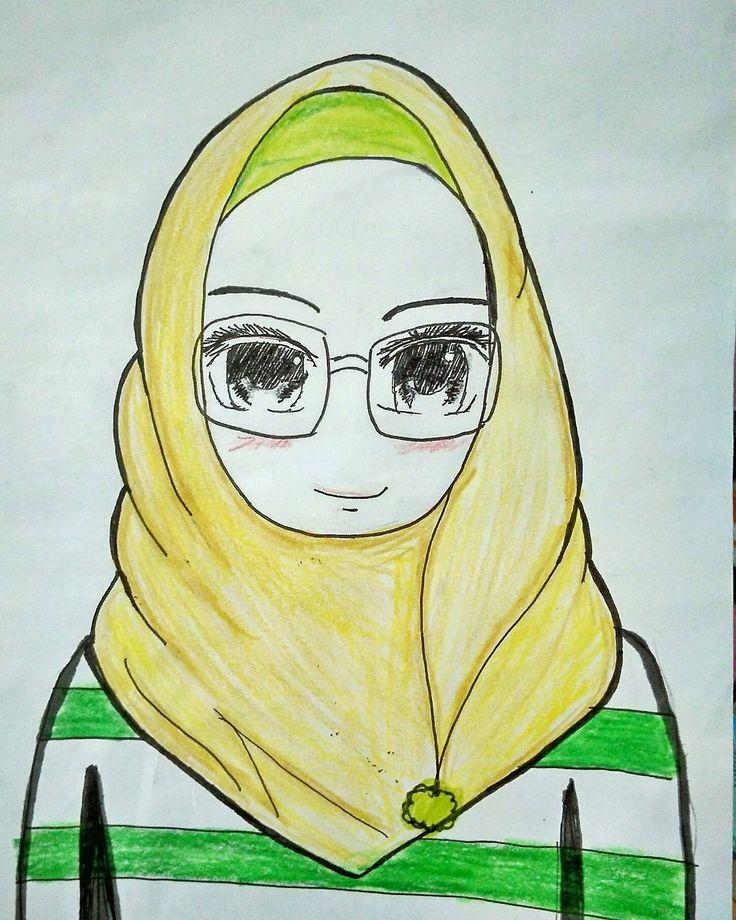 Drawing cute hijab girl easy ---- HikArt