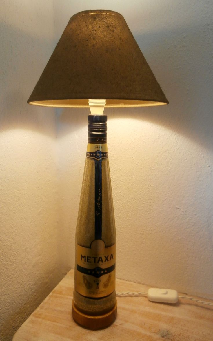 Upcycled Metaxa bottle lamp.