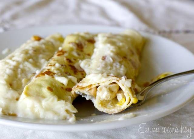 Los panqueques con pollo y choclo son de mis favoritos, prueben hacerlos en casa, pueden hacerlos con restos de pollo asado.