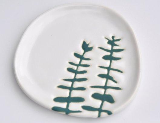 Hope Johnson - Ceramic plate  Wax resist method of simple shape plates