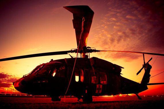 Art Print: Silhouette of U.S. Army UH-60 Blackhawk Medevac ...