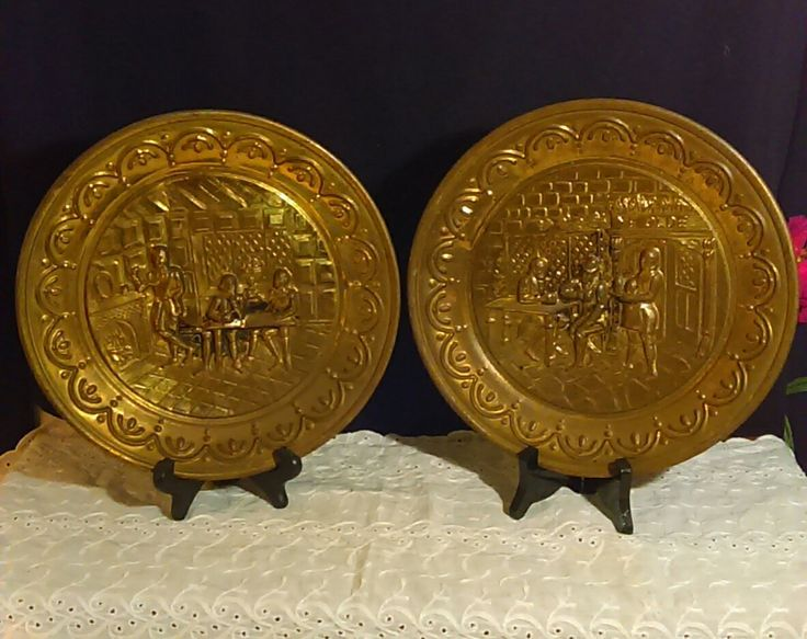 Two Brass Hammered Ye Olde Tavern Pattern Plates Made in England by AuntieMaeVinyard on Etsy