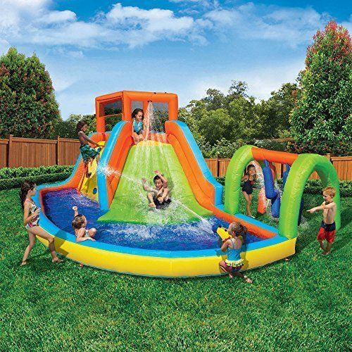 NEW Inflatable Island Water Park Playcenter For Kids Summer Toy Slide Pool Fun #Banzai