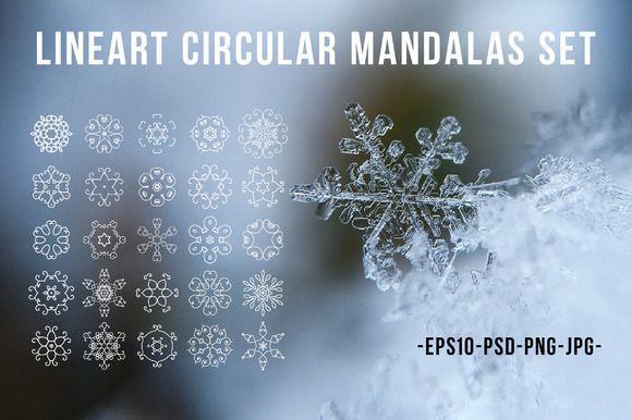 Lineart circular mandalas set @creativework247