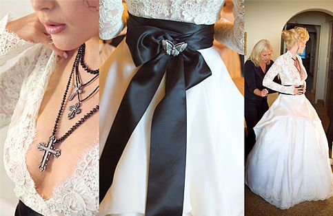 This is my dream wedding dress. A little lace, a little black, and crosses. Very edgy, yet elegant. Very Rock and Roll, and I will turn it a little Southern :) If i EVER get married, It will only be once and I WILL pay the money for this dress. It is way too beautiful to be passed up.