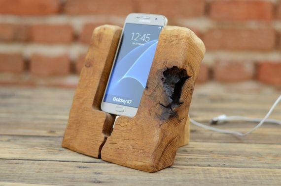 Recycled Wood Dock Samsung Galaxy S6 Docking by WoodRestart