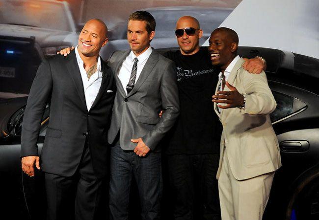 Dwayne Johnson, Paul Walker, Vin Diesel and Tyrese Gibson