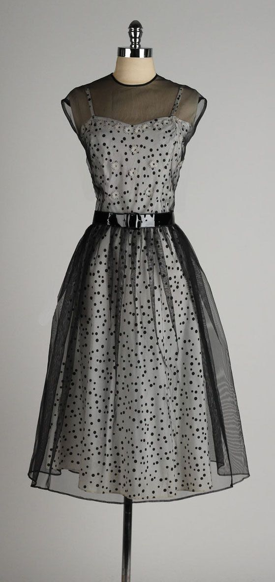 vintage 1940s dress . black polka dot 2 piece by millstreetvintage