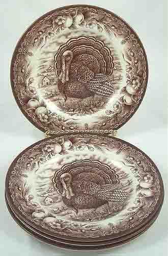 4 ROYAL STAFFORD Brown TURKEY Thanksgiving SALAD PLATES & 112 best Turkey plates images on Pinterest | Turkey plates Turkey ...