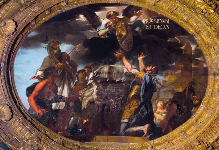 Clodoveo riceve lo scudo con giglio Jan Miel Palazzo Reale