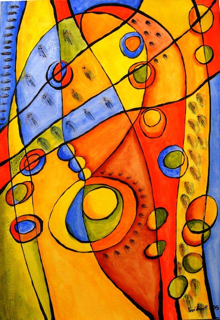 """Vitral, """"Ensoñación I """", acrílico sobre papel, 50 x 35 cm."""