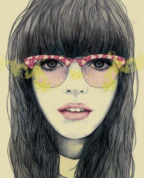 Illustrations by Mercedes deBellard: Illustrations Art, Art Illustrations, Drawings, Merc Debellard, 3D Character, Freckle, Portraits, Colors Glasses, Fashion Illustrations