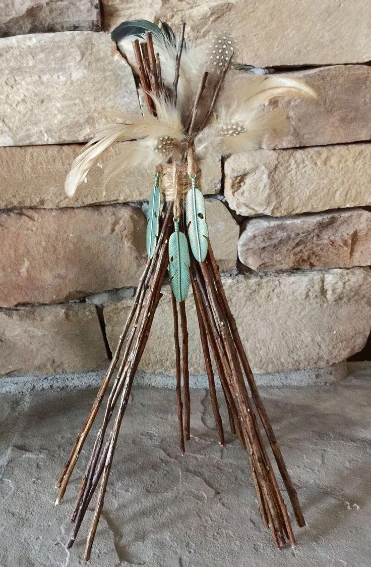 Boho Tee Pee Centerpiece, Pow Wow Weddding, Baby Shower, Wild One Birthday,  Tribal Baby, Indian, Arrows, Coachella party, girls room by Rusticredoo on Etsy https://www.etsy.com/listing/509484478/boho-tee-pee-centerpiece-pow-wow