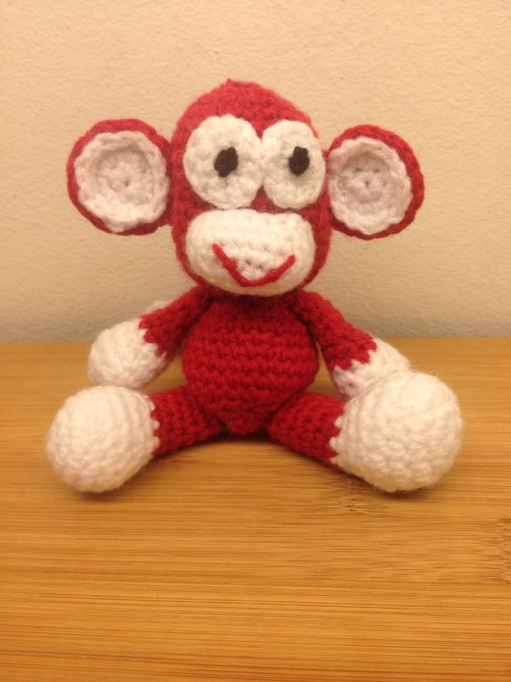 My version of Sharon Ojala's Little Bigfoot monkey.   Free pattern at http://www.amigurumitogo.com/2014/05/little-bigoot-monkey-free-amigurumi-pattern.html?m=1