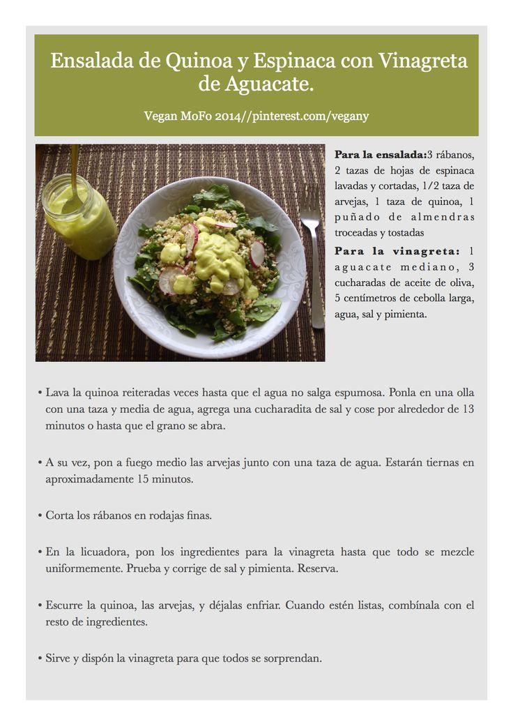Día 4 del VeganMofo: Ensalada de quinoa con vinagreta de aguacate.