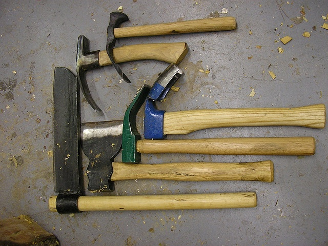 Adzes, hatchet, and a froe
