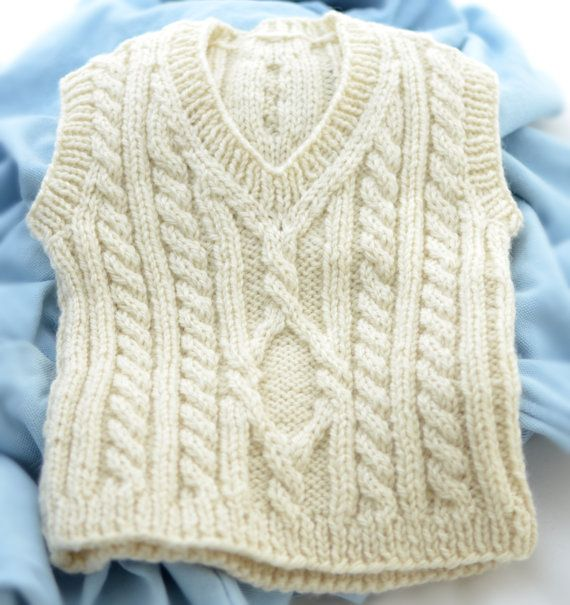 Classic Wool aran cable sweater vest for a baby by SavannahStrands
