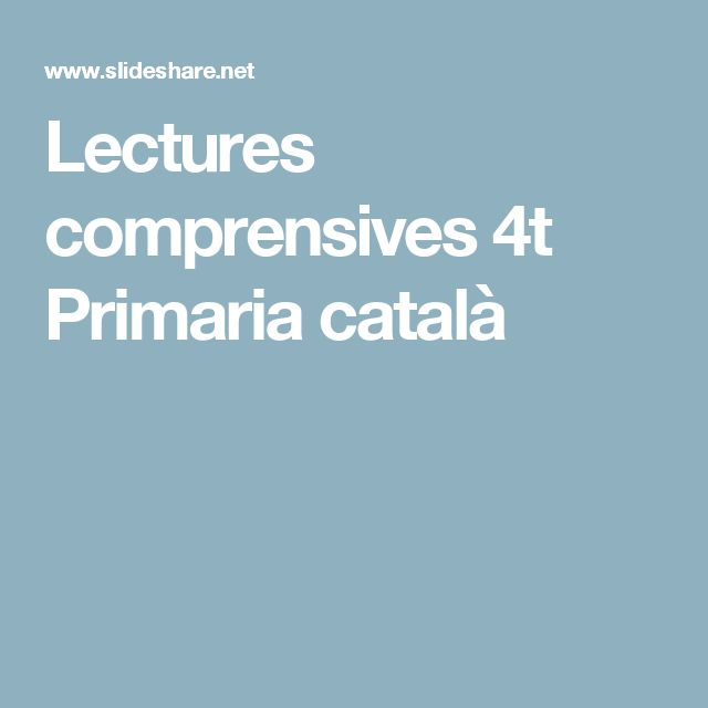 Lectures comprensives 4t Primaria català