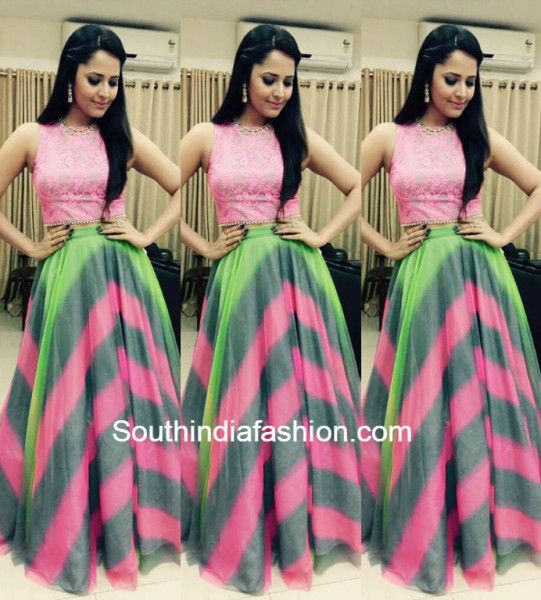 0013feb6f1 Anasuya in a crop top and skirt | My Kinda Style | Dresses, Long ...