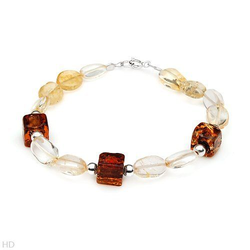 Sterling Silver 21.6 CTW Citrine and Glass Beads Ladies Bracelet. Length 7.5 in. Total Item weight 10.9 g. VividGemz. $25.00