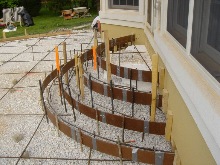 Exterior steps rounded concrete patio steps group for Latest patio designs