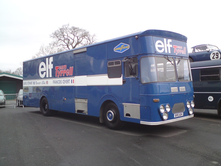 The 1970 Elf Team Tyrrell transporter as used ferry the race cars of Jackie Stewart and Francois Cevert between the European tracks. At Stonleigh, Warwickshire.