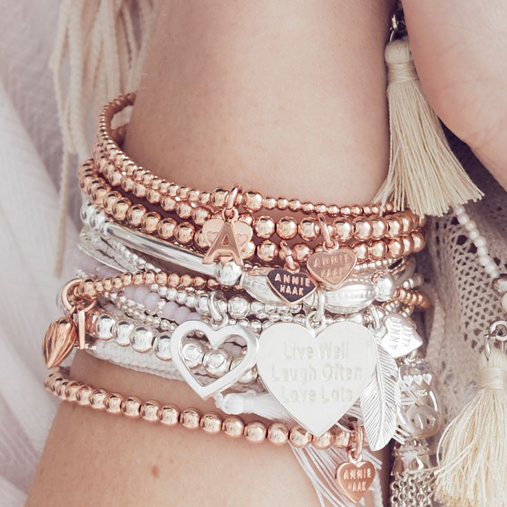Stylish mixed metal bracelet stacks