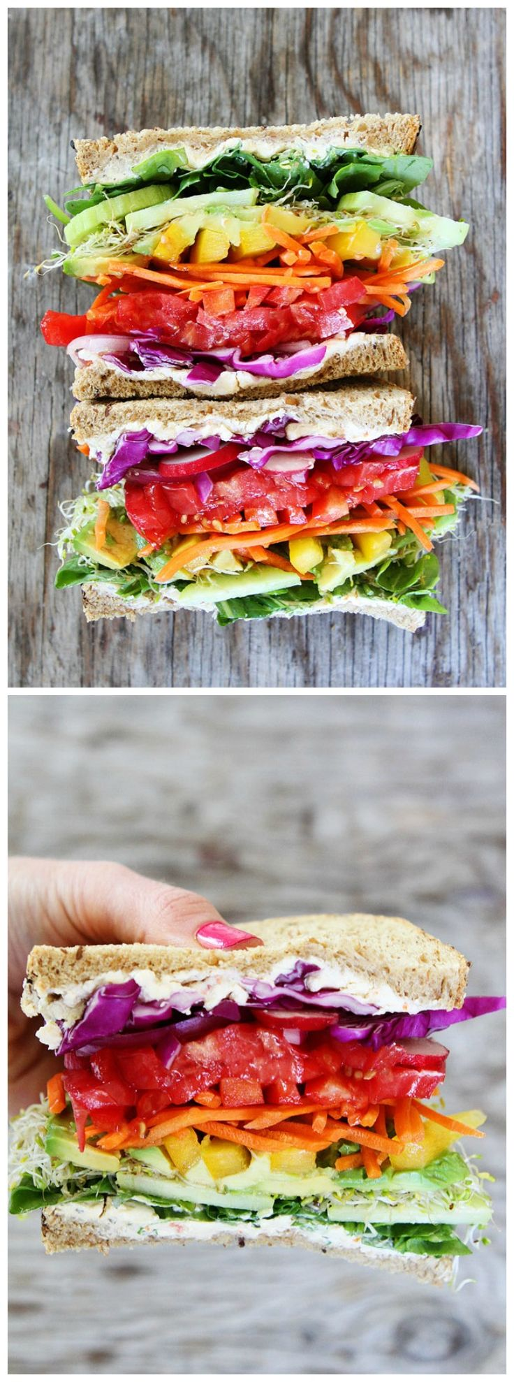 Rainbow Vegetable Sandwich Recipe on twopeasandtheirpod.com The best veggie sandwich EVER! I love all of the colors! This one is fun to make and fun to eat!